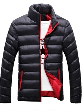 Collar Standard Patchwork Plain Zipper Men's Down Jacket