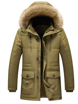 Mid-Length Hooded Patchwork Casual Men's Down Jacket