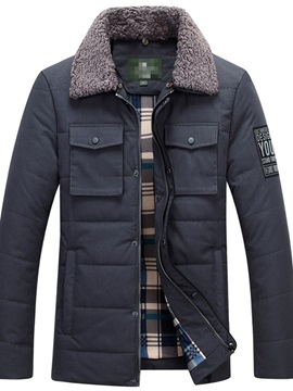 Patchwork Lapel Color Block Standard Zipper Men's Down Jacket