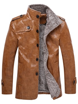 Plain Mid-Length Stand Collar Single-Breasted Men's Leather Jacket