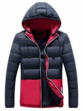 Hooded Letter Standard Patchwork Zipper Men's Down Jacket