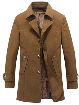 Mid-Length Plain Pocket Single-Breasted Men's Coat