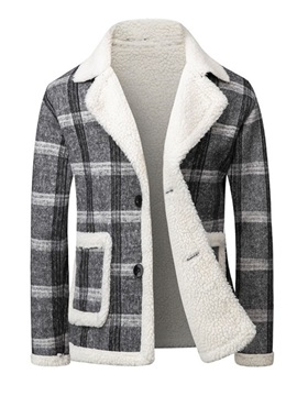 Plaid Standard Button Korean Men's Down Jacket