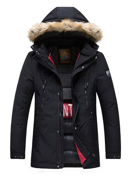 Hooded Patchwork Color Block Zipper Men's Down Jacket