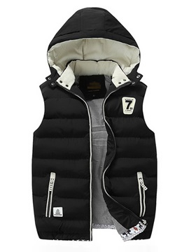 Color Block Hooded Patchwork Thick Zipper Men's Waistcoat