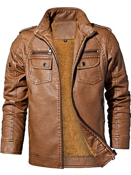 Standard Collar Plain Slim Men's Leather Jacket