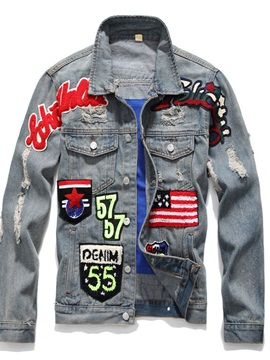 Letter Lapel Appliques Single-Breasted Men's Jacket