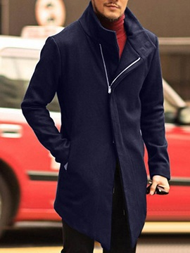 Pocket Mid-Length Plain Color Men's Coat