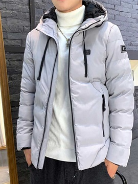 Plain Color Hooded Zipper Casual Men's Down Jacket