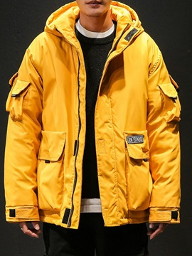 Hooded Mid-Length Pocket Zipper Men's Down Jacket