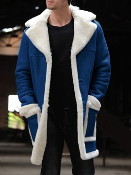 Color Block Patchwork Mid-Length Casual Men's Coat