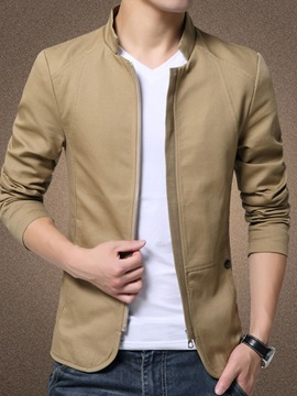 Zipper Plain Thick Lapel Style Men's Jacket
