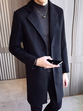Button Mid-Length Plain A Line Men's Coat