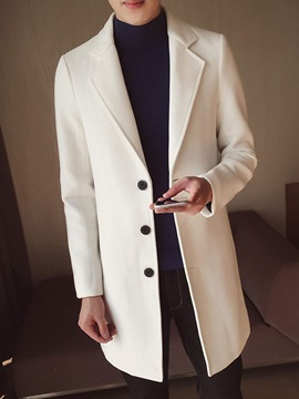 Plain Color Button Lapel Mid-Length Korean Men's Coat