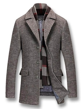 Mid-Length Button Slim Men's Coat