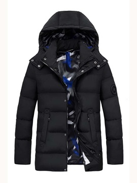 Hooded Mid-Length Plain Pocket Zipper Men's Down Jacket