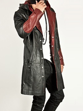 Color Block Mid-Length Hooded Button Men's Leather Jacket