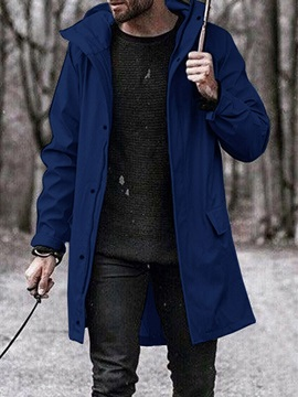 Long Style Plain Hooded Loose Men's Trench Coat