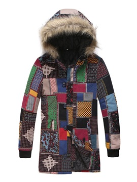Color Block Hooded Patchwork Mid-Length European Men's Down Jacket