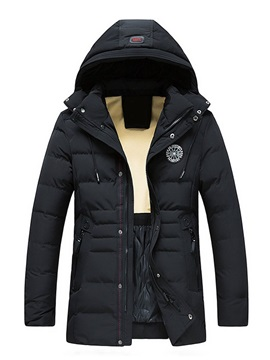 Hooded Mid-Length Style Zipper Men's Down Jacket