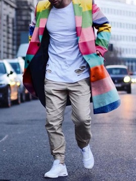 Color Block Mid-Length Casual Style Men's Coat
