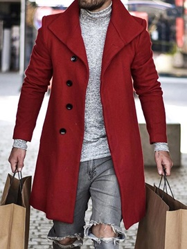 Plain Lapel Mid-Length A Line Style Men's Coat