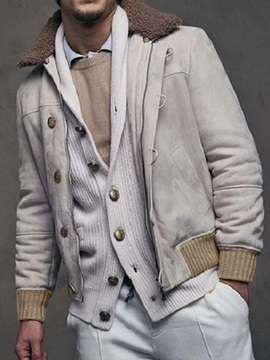Color Block Thick Style Patchwork Lapel Men's Jacket