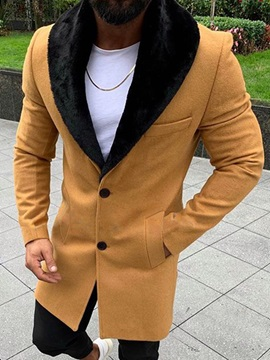 Plain Mid-Length Style Casual Men's Coat