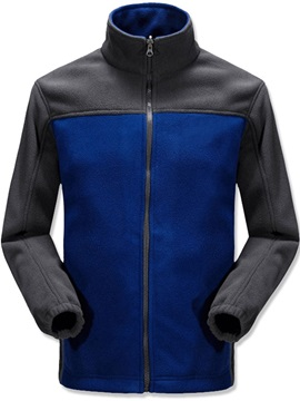 Patchwork Stand Collar Color Block Thick Style Zipper Men's Jacket