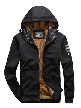 Letter Print Hooded Style Casual Men's Down Jacket