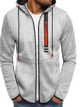 Regular Cardigan Zipper Color Block Casual Men's Hoodies