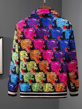 Cartoon Print Lapel Zipper Men's Jacket