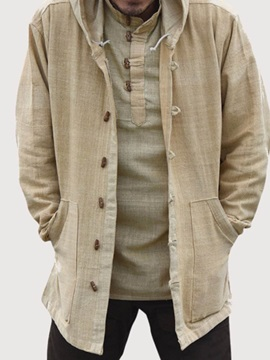 Hooded Plain Pocket Fall Men's Jacket