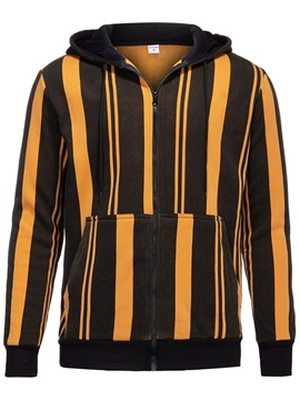 Hooded Stripe Patchwork Fall Men's Jacket