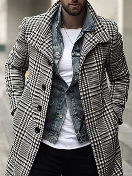 Mid-Length Plaid Single-Breasted Men's Coat