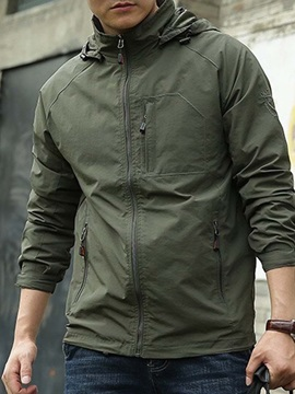 Plain Thin Stand Collar Loose Men's Jacket