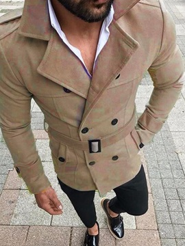 Plain Button Mid-Length Single Men's Trench Coat