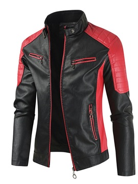 Stand Collar Color Block Standard Casual Men's Leather Jacket