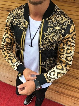 Print Leopard Stand Collar Straight Men's Jacket
