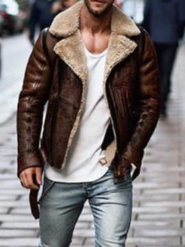 Color Block Standard Lapel Winter Men's Leather Jacket