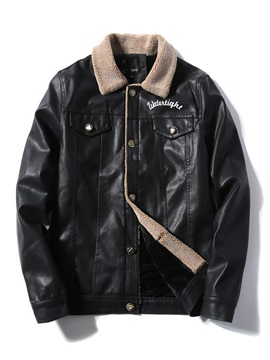 Standard Letter Lapel Print Men's Leather Jacket