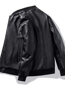 Plain Standard Stand Collar Fall Men's Leather Jacket