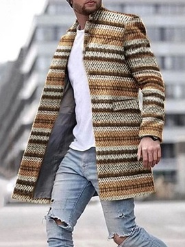 Stripe Stand Collar Mid-Length Straight Men's Coat