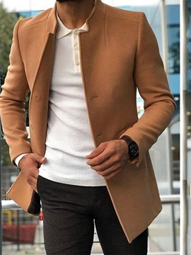 Stand Collar Mid-Length Plain Slim Men's Coat