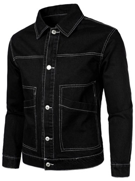 Plain Pocket Lapel Slim Men's Jacket