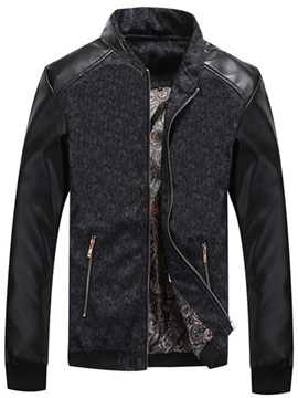 Color Block Stand Collar Patchwork Fall Men's Jacket