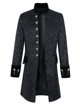 Stand Collar Mid-Length Patchwork Slim Men's Coat