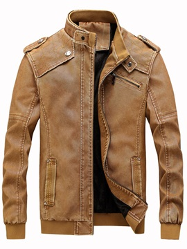 Stand Collar Standard Plain Winter Men's Leather Jacket