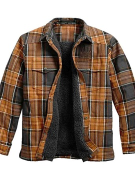 Pocket Plaid Lapel Fleece Single-Breasted Men's Jacket