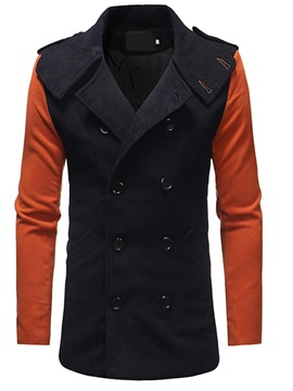 Patchwork Lapel Color Block Standard Double-Breasted Men's Coat